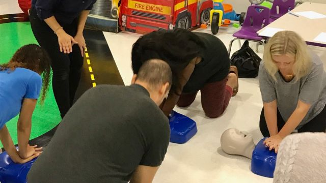 group doing CPR training